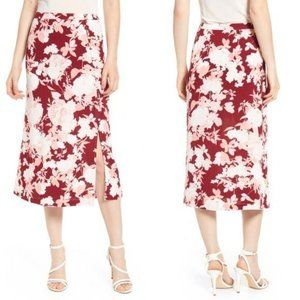 Chelsea28 Red Floral Button Down Midi Skirt XS